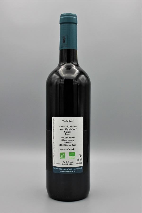 domaine Ambre biodynamie vin rouge naturel monocépage Duras contre-etiquette - Tarn 81