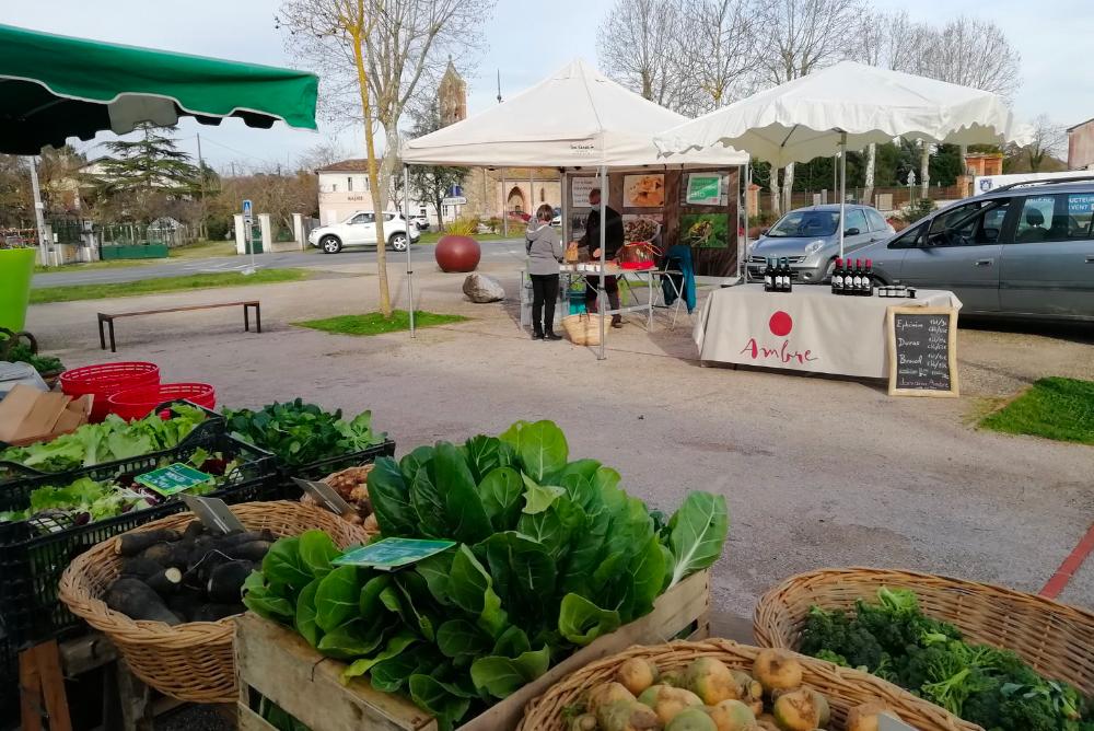 stand marché vins rouge biodynamie Domaine Ambre Occitanie