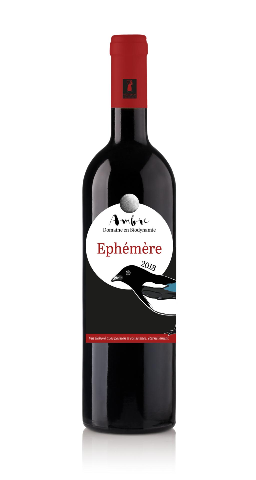 Cuvée Ephémère Domaine Ambre biodynamie étiquette pie